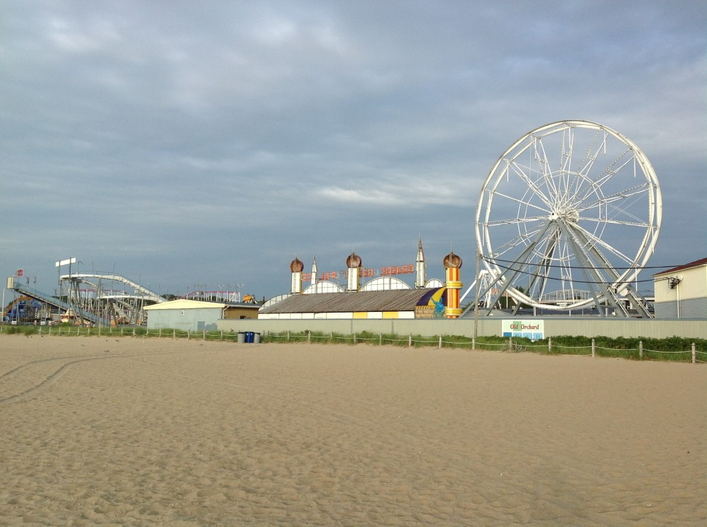 Closed amusement park at Old Orchard Beach at sunrise.