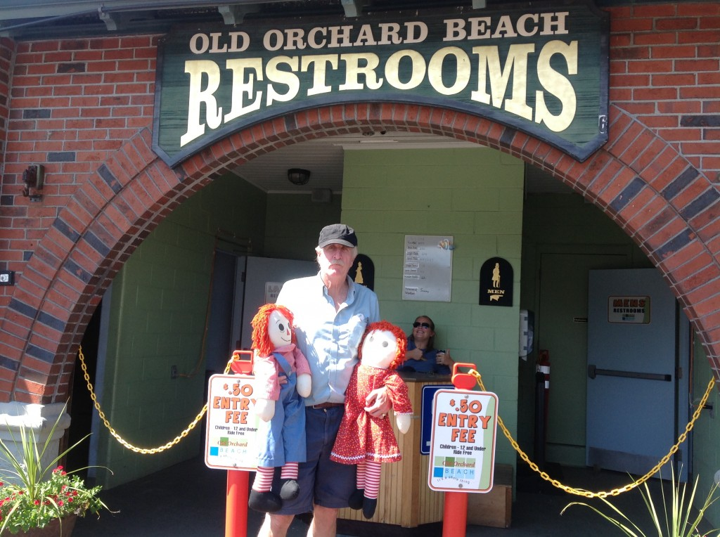 Kids and Harry at pay-to-pee station on Old Orchard Beach main street.